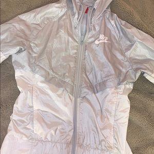 gray and white nike windrunner jacket